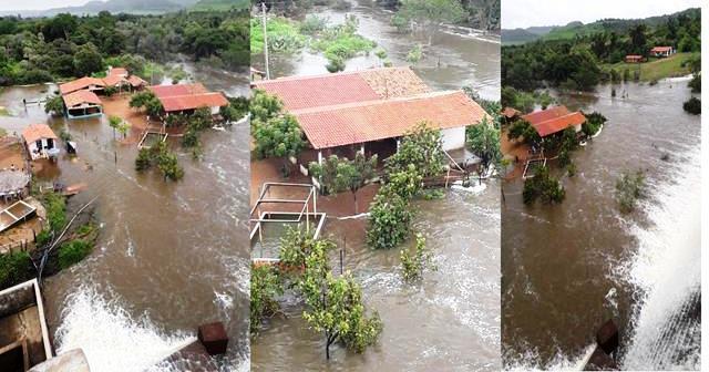 Mesa de Pedra: água ultrapassa parede da barragem e causa alagamentos em Valença (PI)