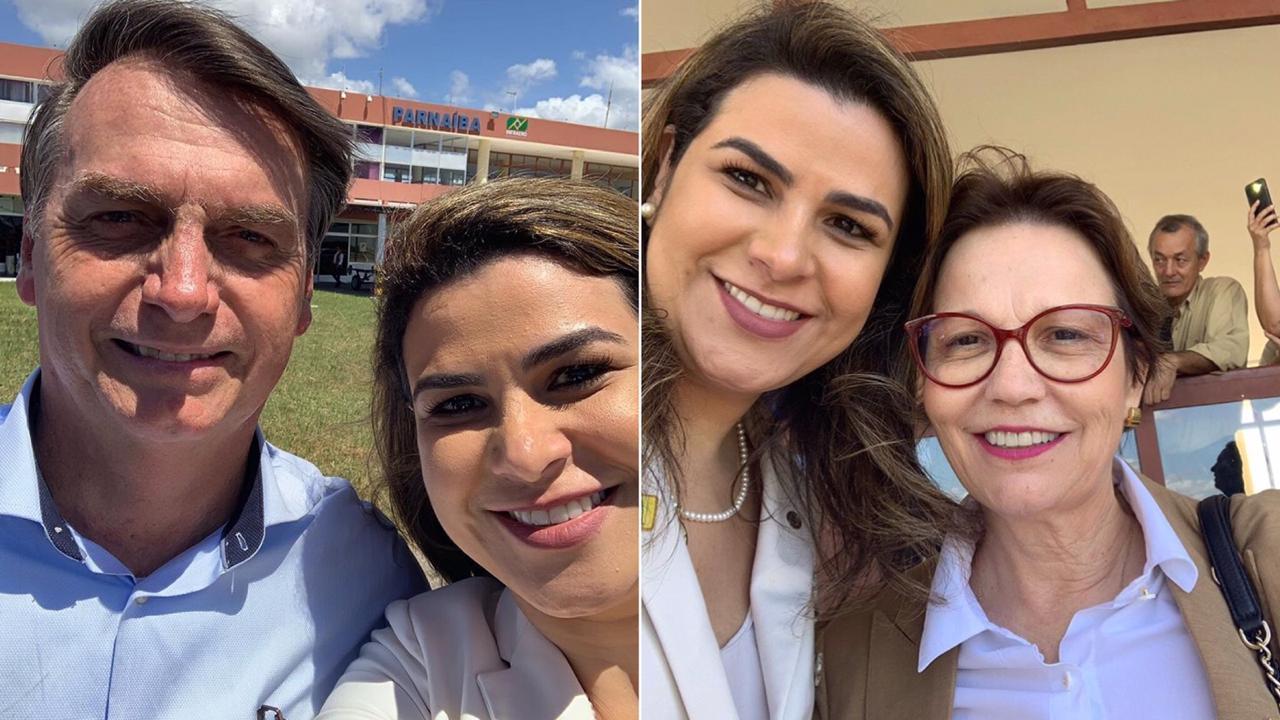 Deputada Marina Santos posta selfie com Bolsonaro após acompanhar agenda presidencial