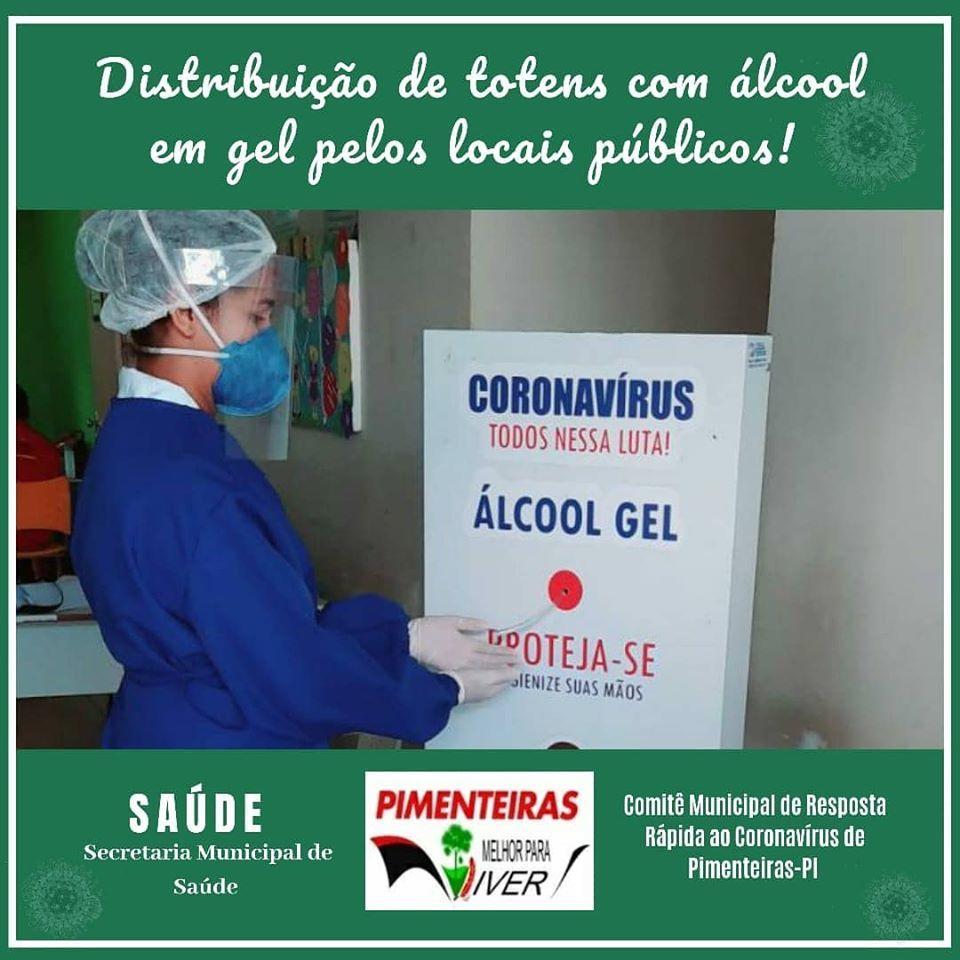 Totens com álcool em gel são instalados em Pimenteiras como forma de prevenção ao coronavírus