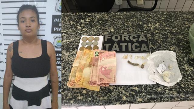 Força Tática prende acusada de tráfico de drogas em Valença do Piauí